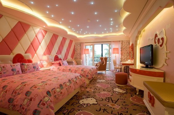 Girls-Bedroom-with-Hello-Kitty-Theme